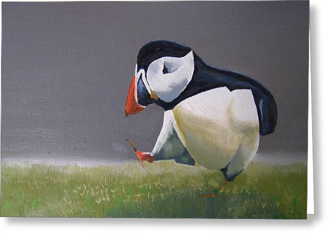 Occupy Beijing Greeting Cards - The Walking Puffin Greeting Card by Eric Burgess-Ray