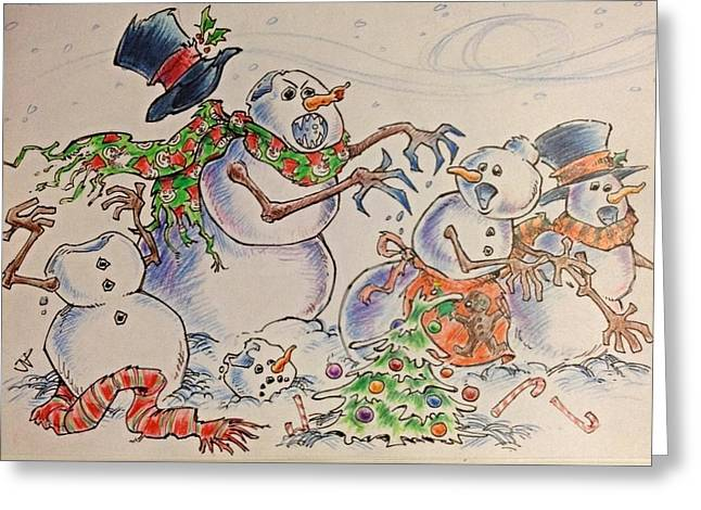 Jeff Mixed Media Greeting Cards - The Walking Snow Greeting Card by Jeff Prechtel