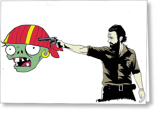 Zombies Vs Plants Greeting Cards - The Walking Zombie Greeting Card by Lucille Losstarot