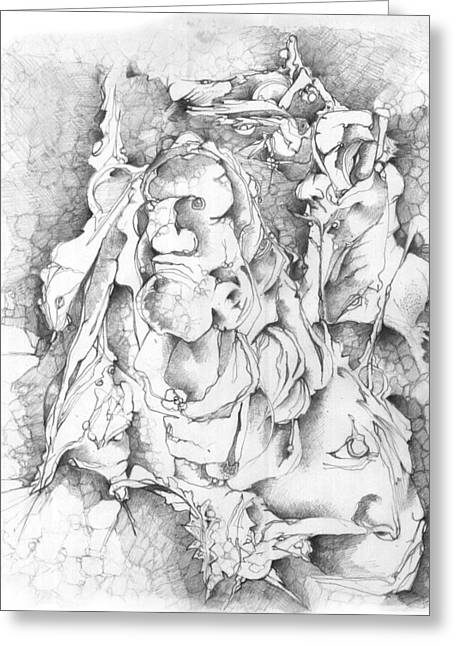 Mystical Drawings Greeting Cards - The wall Greeting Card by Bodhi