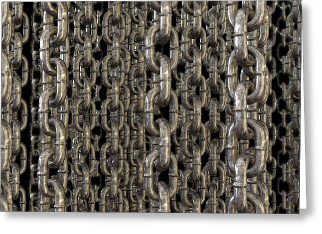 Shackle Greeting Cards - The Wall Of Hanging Chains Greeting Card by Allan Swart