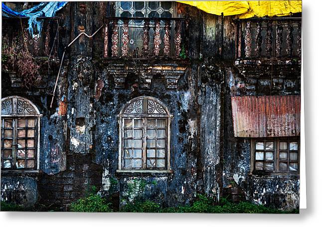 Abandoned Houses Greeting Cards - The Wall of the Old Goan House 1. Margao. India Greeting Card by Jenny Rainbow