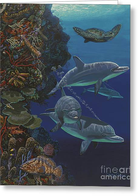 Blue Planet Greeting Cards - The Wall Re007 Greeting Card by Carey Chen