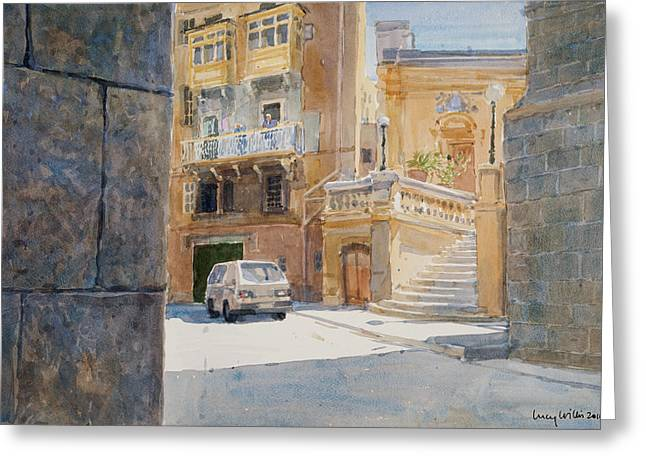 Maltese Photographs Greeting Cards - The Walls Of Birgu, 2011 Wc On Paper Greeting Card by Lucy Willis