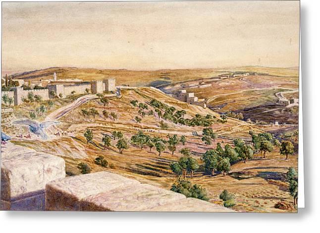Pre-raphaelites Drawings Greeting Cards - The Walls Of Jerusalem, 1869 Greeting Card by William Holman Hunt