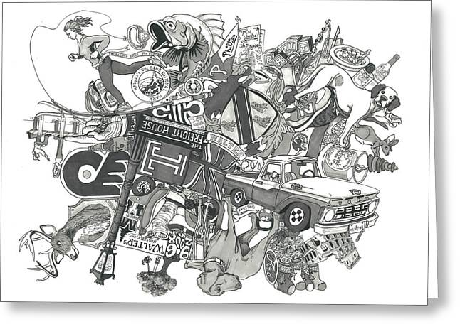 Grayscale Drawings Greeting Cards - The Walters at 6 Greeting Card by Tyler Auman
