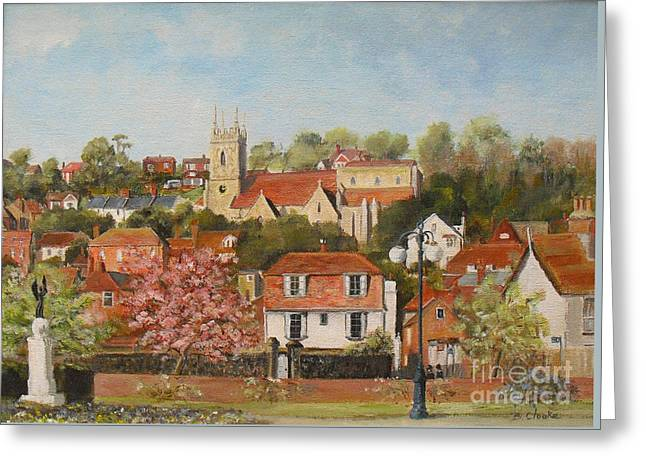War Memorial Paintings Greeting Cards - The war memorial Hythe Greeting Card by Beatrice Cloake