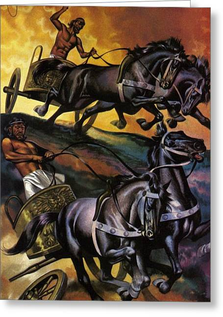 Olympic Games Greeting Cards - The War Of The Gods Colour Litho Greeting Card by Ron Embleton
