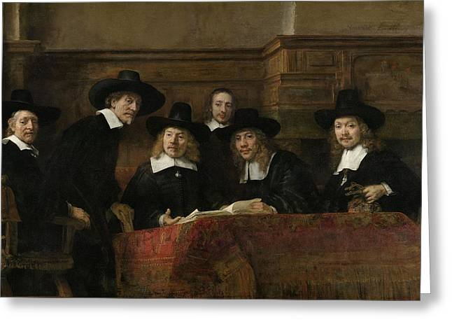 Citizens Photographs Greeting Cards - The Wardens Of The Amsterdam Drapers' Guild, Known As 'the Syndics', 1662 Oil On Canvas Greeting Card by Rembrandt Harmensz. van Rijn