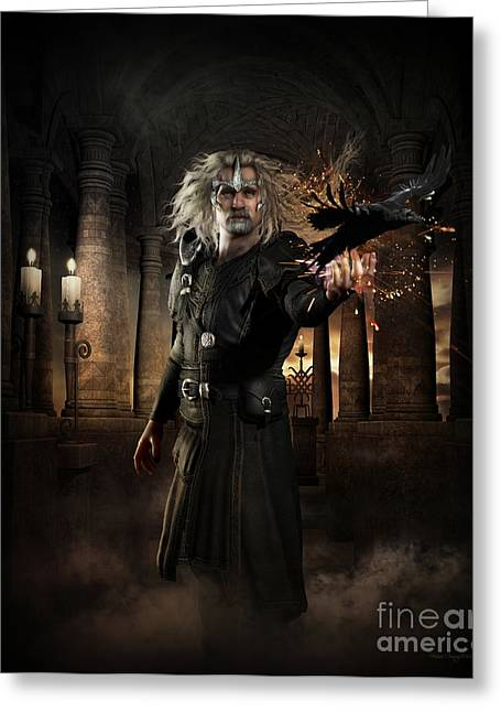 Magician Greeting Cards - The Warlock Greeting Card by Shanina Conway