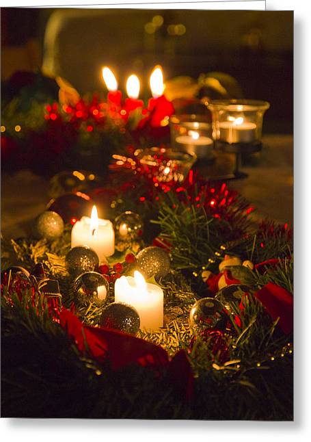 Candle Lit Greeting Cards - The Warmth Of Chirstmas Greeting Card by Sophie De Roumanie