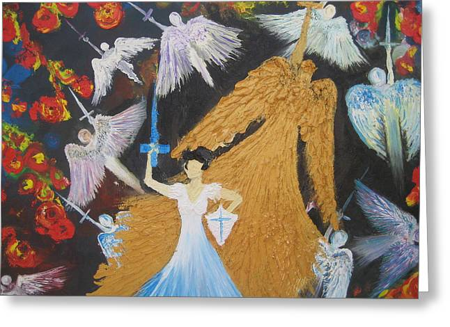 Warrior Bride Greeting Cards - The Warrior Bride 2 Greeting Card by Rachael Pragnell