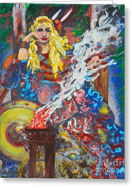 Warrior Goddess Greeting Cards - The Warrior Queen Greeting Card by Alys Caviness-Gober