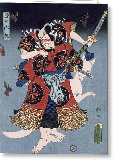 East Asia Greeting Cards - The Warrior Greeting Card by Utagawa Kunisada