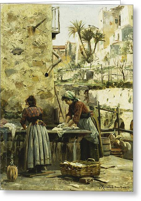 Apparel Greeting Cards - The Washerwomen Greeting Card by Peder Monsted