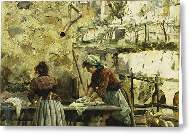 The Washerwomen Greeting Card by Peder Monsted