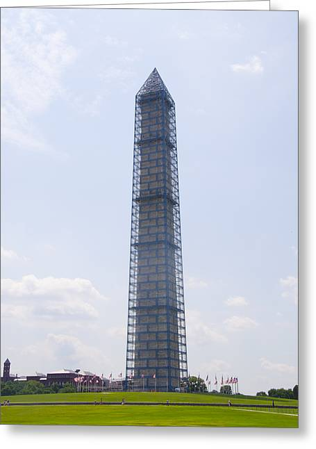 Repaired Digital Art Greeting Cards - The Washington Monument in a Cage Greeting Card by Bill Cannon