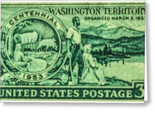 Pioneer Scene Paintings Greeting Cards - The Washington Territory stamp Greeting Card by Lanjee Chee