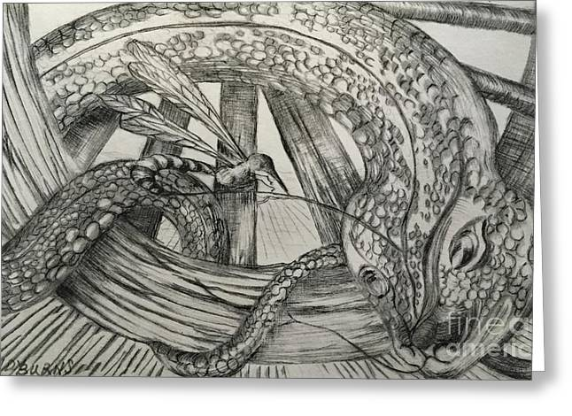 Fabled Drawings Greeting Cards - The Wasp and the Snake Greeting Card by Randy Burns