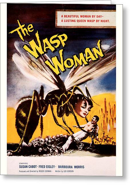 Suspense Mixed Media Greeting Cards - The Wasp Woman 1959 Greeting Card by Presented By American Classic Art
