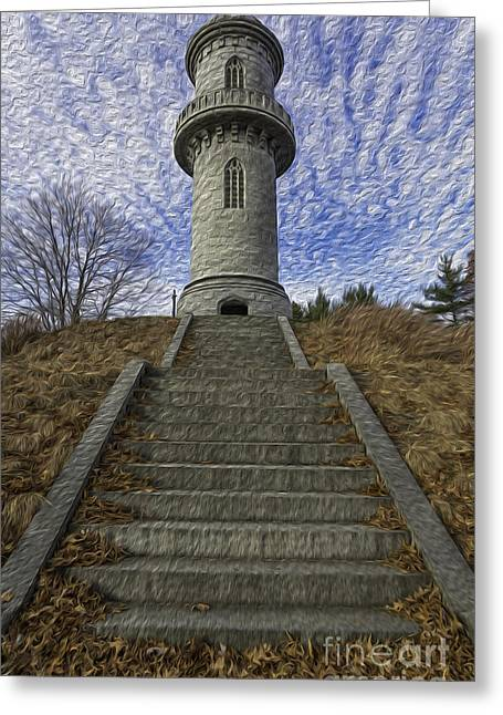 Auburn Ma Greeting Cards - The Watch Tower - Oil Paint Greeting Card by Billy Bateman