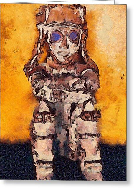 Observer Digital Greeting Cards - The Watcher Greeting Card by Chris Coyle