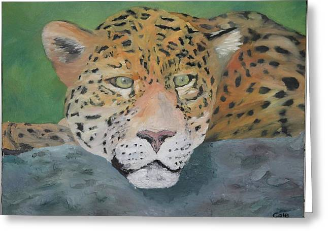 Jaguars Reliefs Greeting Cards - The Watcher Greeting Card by Cole Condict