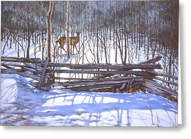 Split Rail Fence Paintings Greeting Cards - The Watcher in the Wood Greeting Card by Richard De Wolfe