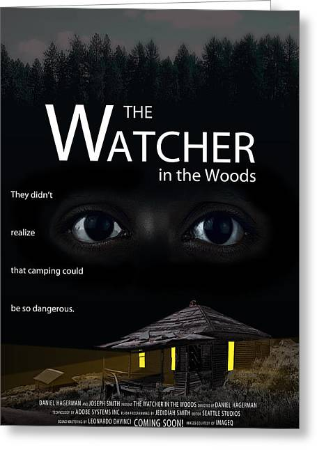 Deep Fears Greeting Cards - THE WATCHER in the WOODS Greeting Card by Daniel Hagerman