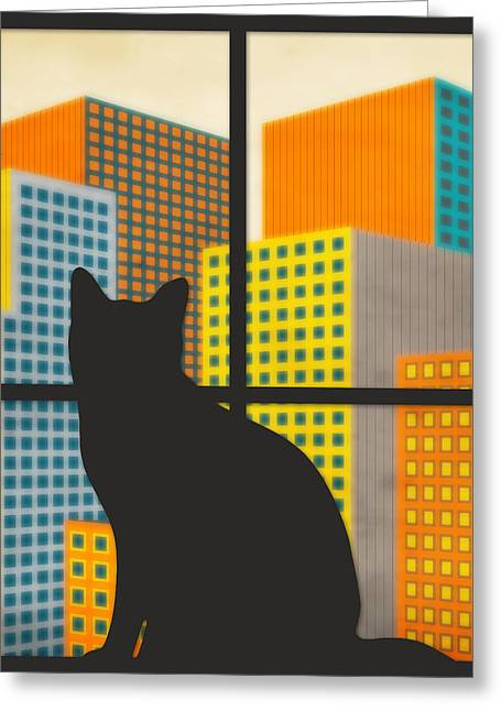 City Buildings Digital Greeting Cards - The Watcher Greeting Card by Jazzberry Blue