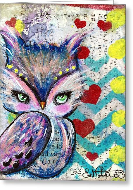 Chevron Owl Greeting Cards - The Watcher Greeting Card by Lizzy Love of Oddball Art Co