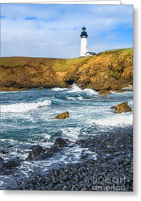 Ocean Panorama Greeting Cards - The Watcher - Yaquina Head Lighthouse on the Oregon Coast. Greeting Card by Jamie Pham