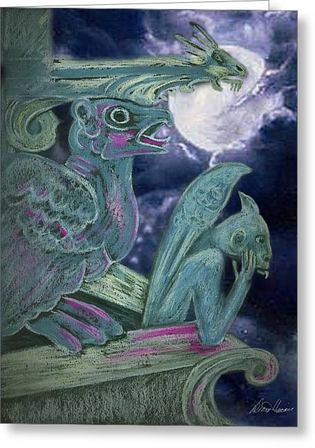 Gothic Pastels Greeting Cards - The Watchers Greeting Card by Diana Haronis
