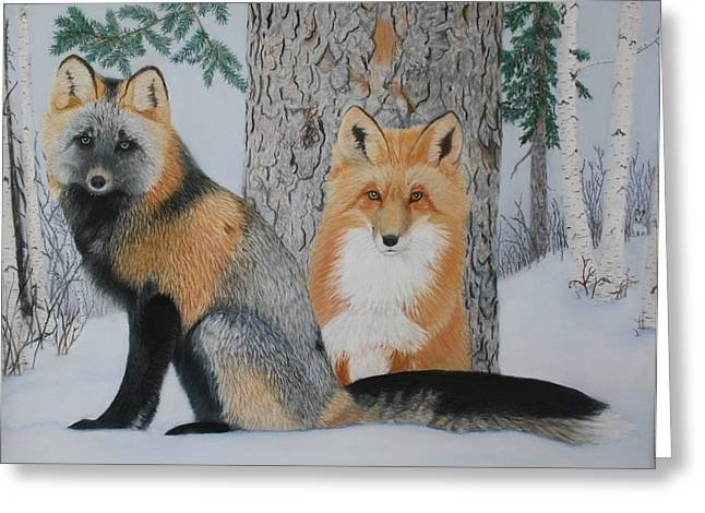 Hare Pastels Greeting Cards - The Watchers Greeting Card by Laurie Cartwright