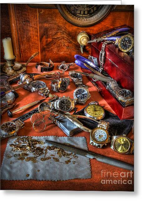 Longines Greeting Cards - The watchmakers Desk Greeting Card by Lee Dos Santos