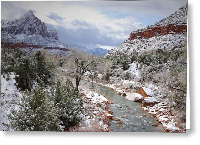 Watchman Greeting Cards - The Watchman after snowfall at Zion Greeting Card by Jetson Nguyen
