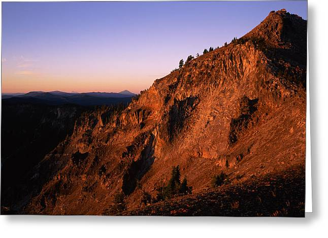 Crater Lake Greeting Cards - The Watchman At Sunrise, Crater Lake Greeting Card by Panoramic Images