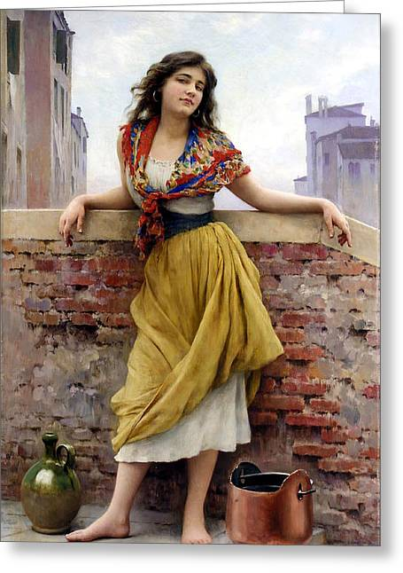 Historically Significant Greeting Cards - The Water Carrier Greeting Card by Eugene de Blaas