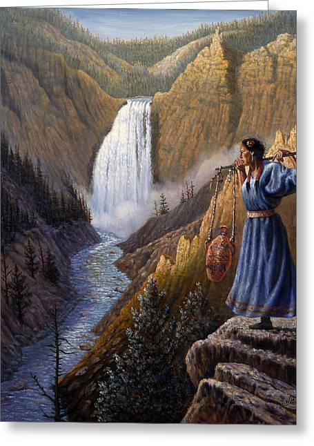 Montana Digital Art Greeting Cards - The Water Carrier Yellowstone Greeting Card by Gregory Perillo