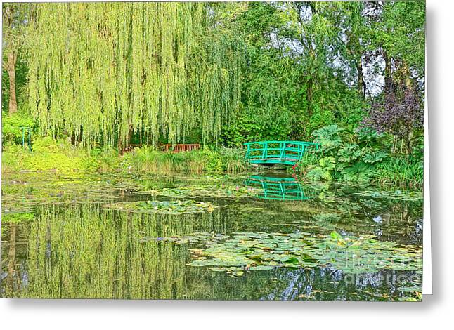 Famous Bridge Greeting Cards - The Water Garden Greeting Card by Olivier Le Queinec