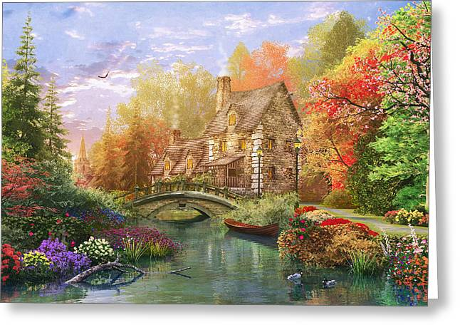 Country Cottage Digital Art Greeting Cards - The Water Lake Cottage Greeting Card by Dominic Davison