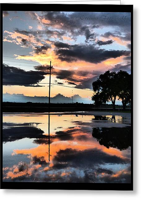 Martinville Greeting Cards - The Water Puddles And The Sunset Greeting Card by Orcinus Fotograffy