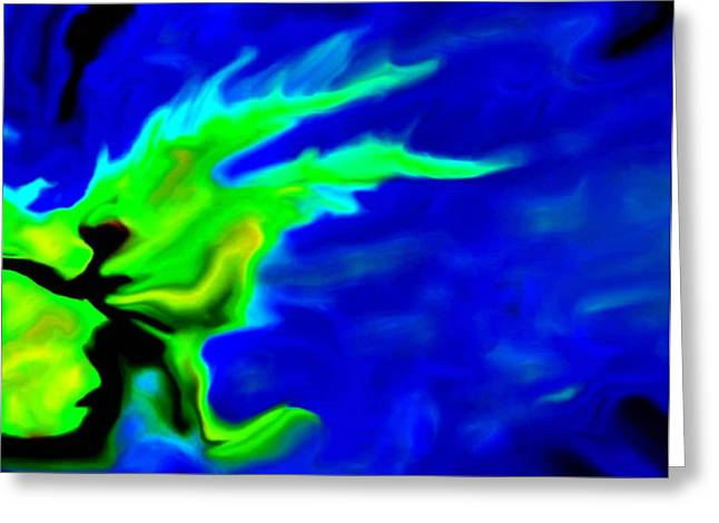Sprinter Digital Greeting Cards - The Water Runner Greeting Card by Rocky Johnson