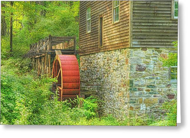 Red Mill Historic Village Greeting Cards - The Water Wheel At Millbrook Greeting Card by Pat Abbott