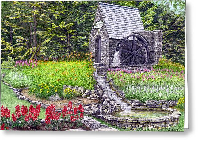Flower Boxes Drawings Greeting Cards - The Water Wheel at Seven Springs Mountain Resort Greeting Card by Albert Puskaric