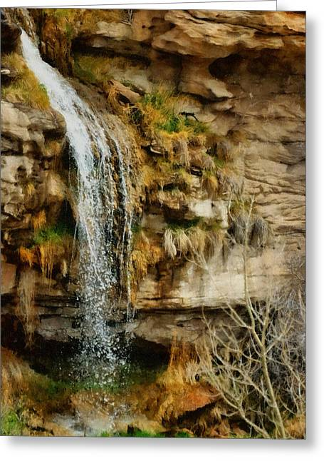 Stream Digital Art Greeting Cards - The Waterfall Greeting Card by Ernie Echols