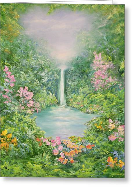 Garden; Water; Falling; Flower; Pond Greeting Cards - The Waterfall Greeting Card by Hannibal Mane