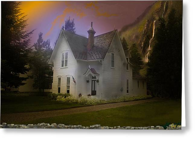 1880s Digital Art Greeting Cards - The Waterfall House Greeting Card by J Griff Griffin