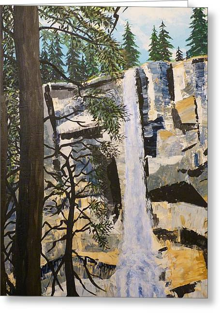 Mountainside Art Greeting Cards - The Waterfall Greeting Card by Mountain Dreams
