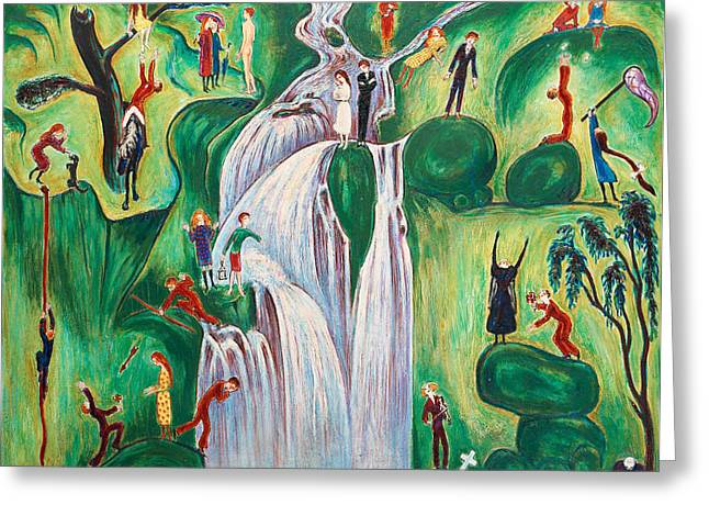 Nils Greeting Cards - The waterfall Greeting Card by Nils Dardel